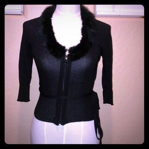 Small Betty Paige Cropped Cardigan sweater w/fur